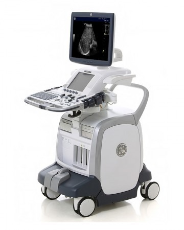 GE Logiq E9 Ultrasound System - Reconditioned & Certified BT11 (R3) Software, includes linear/vascular, curved linear, and endo-cavity transducer