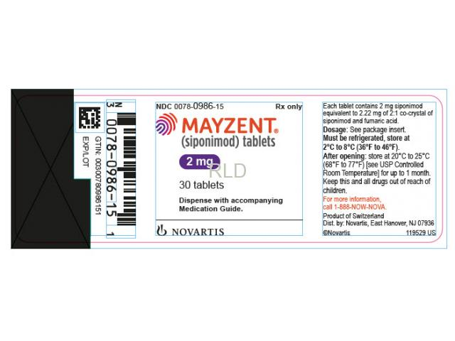 Mayzent (siponimod) Tablets 2mg